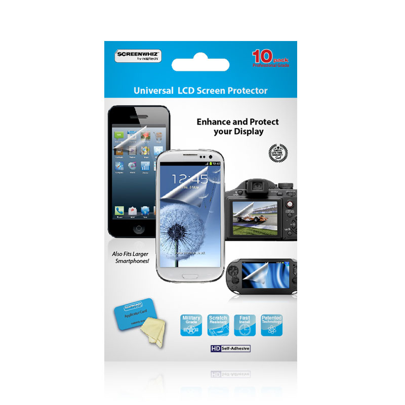 ScreenWhiz High Strength Screen Universal Protector 10 Pack