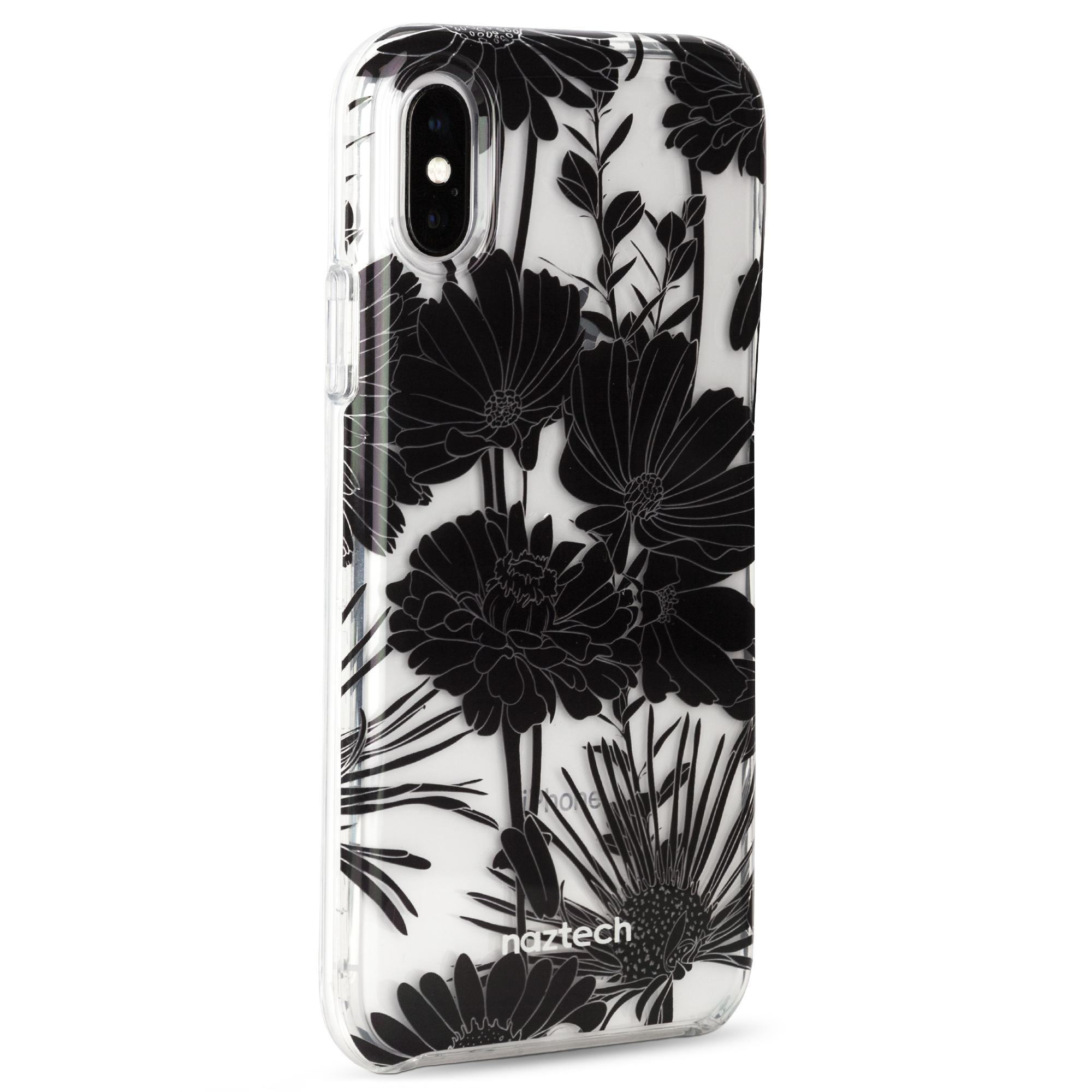 Naztech Hybrid PC + TPU Case for iPhone X/XS - Black Floral
